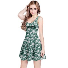 Green Grunge Skulls Pattern Sleeveless Skater Dress by CoolDesigns