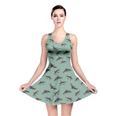 Turquoise Pattern Sharks Reversible Skater Dress by CoolDesigns
