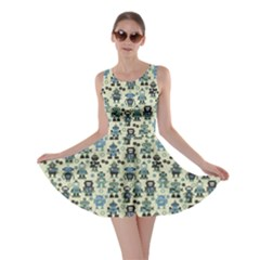 Green Robots Color Pattern Skater Dress by CoolDesigns
