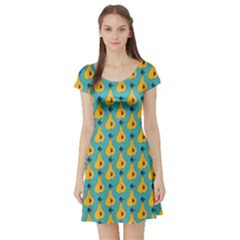 Green Pattern With Yellow Pear Short Sleeve Skater Dress by CoolDesigns