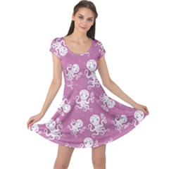 Purple Cute Octopus Stylish Design Cap Sleeve Dress by CoolDesigns