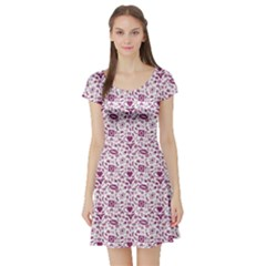 Purple Sex Pattern Short Sleeve Skater Dress by CoolDesigns