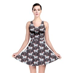 Black Carousel Horses Pattern Reversible Skater Dress by CoolDesigns