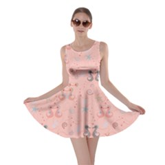 Pink Pattern With Sea Horses Shells And Stars Skater Dress by CoolDesigns