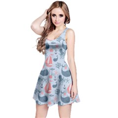 Blue Pattern With Cute Whales Sailing Octopus Sleeveless Skater Dress