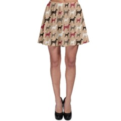 Brown Animal Pattern Of Dog Silhouettes Endless Skater Dress by CoolDesigns