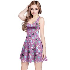 Purple Snails And Mushrooms Pattern Sleeveless Dress