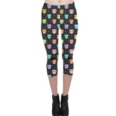 Black Pattern With Colorful Owls On Dark Capri Leggings by CoolDesigns