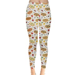 Colorful Pattern With Different Pizza And Spices Leggings