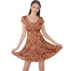 Brown Pattern Fallen Autumn Warm Shades Leaves Cap Sleeve Dress by CoolDesigns