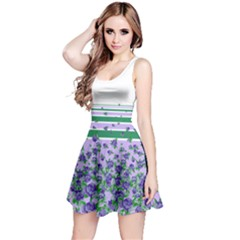 Greenstripespurple Sleeveless Skater Dress by CoolDesigns