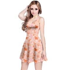Orange Woodland Animals Pattern Sleeveless Dress
