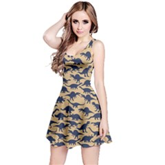 Beige Navy Dinosaur Sleeveless Dress