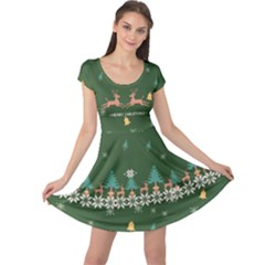 Green Christmas Cap Sleeve Dress by CoolDesigns