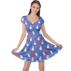 Blue Snowman Cap Sleeve Dress by CoolDesigns