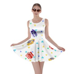 Present In White Skater Dress by CoolDesigns