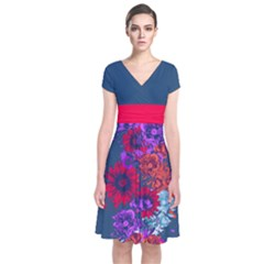 Dark Blue Floral Short Sleeve Front Wrap Dress by CoolDesigns