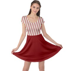 Red Green Stripes Cap Sleeve Dress by CoolDesigns