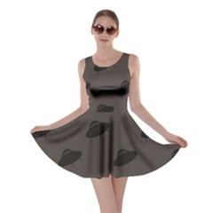 Black Ufo Web Flat Design Gray Pattern Skater Dress