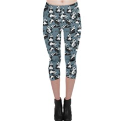 Blue Set Of Cartoon Funny Panda On A Blue Animal Capri Leggings by CoolDesigns