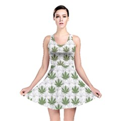 Green Marijuana Badges With Marijuana Leaves Reversible Skater Dress by CoolDesigns