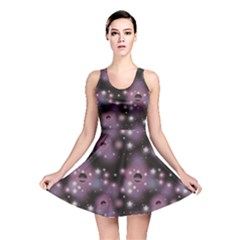Purple Abstract Pattern Space With Stars Reversible Skater Dress by CoolDesigns
