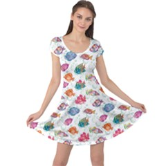 Colorful Sea Pattern Tropical Fish Medusa Ocean Cap Sleeve Dress