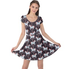 Black Carousel Horses Pattern Cap Sleeve Dress by CoolDesigns