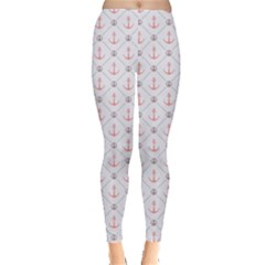 Gray Retro Pattern Polka Dot With Anchors Leggings by CoolDesigns