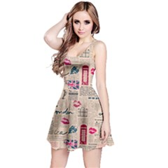 Colorful Pattern Newspaper London With Grunge Eleme Short Sleeve Skater Dress by CoolDesigns