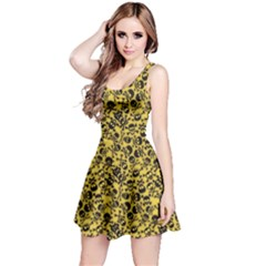 Yellow Skull Crossbones Pattern Sleeveless Skater Dress by CoolDesigns