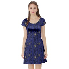 Blue Pattern Owls In The Night Forest Short Sleeve Skater Dress