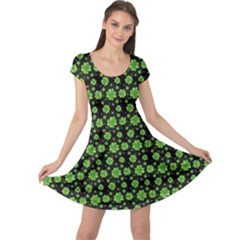 Green Shamrock Pattern Black Cap Sleeve Dress by CoolDesigns