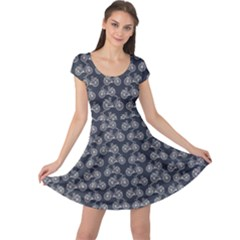 Blue Pattern With Outline Vintage Bicycles Cap Sleeve Dress