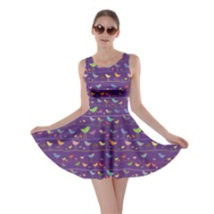 Blue Retro Funny Bird Pattern Design Element Skater Dress by CoolDesigns