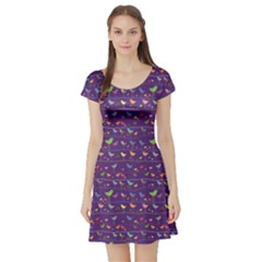 Blue Retro Funny Bird Pattern Design Element Short Sleeve Skater Dress by CoolDesigns