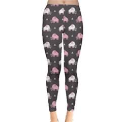 Pink Elephants Pattern Leggings