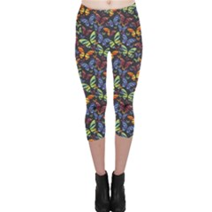 Colorful Pattern Butterflies Colored Capri Leggings by CoolDesigns