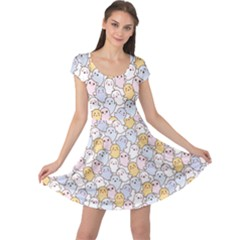 Colorful Kawaii Cartoon Pattern Cute Ghosts Cap Sleeve Dress by CoolDesigns