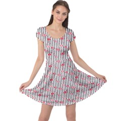 Pink Flamingo Bird Retro Pattern In Cap Sleeve Dress
