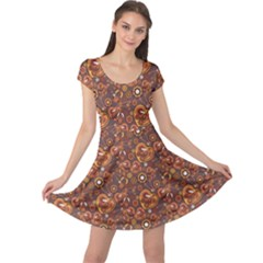 Brown Pattern Steampunk Mechanism Metal Cap Sleeve Dress by CoolDesigns