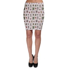 Gray Pattern With Watercolor Beetles Bodycon Skirt by CoolDesigns
