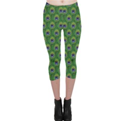 Green Peacock Feathers Capri Leggings by CoolDesigns