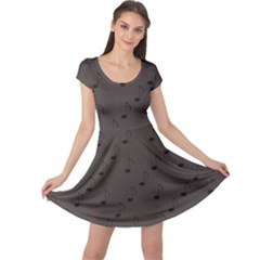 Black Music Elements Notes Web Flat Design Gray Pattern Cap Sleeve Dress by CoolDesigns