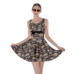 Black Grunge Pattern With Skulls Illustration Skater Dress