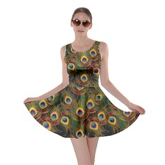 Green Pattern Peacock Feathers Skater Dress by CoolDesigns