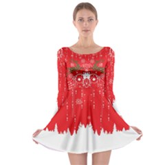 Red Xmas Long Sleeve Skater Dress by CoolDesigns