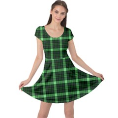 Xmas Green Plaid Cap Sleeve Dress