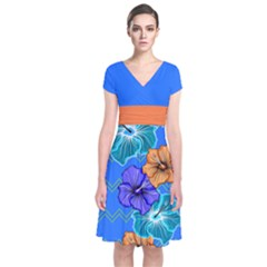 Blue Hawaii Short Sleeve Front Wrap Dress by CoolDesigns