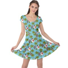 Snowman Leaves Cap Sleeve Dress by CoolDesigns
